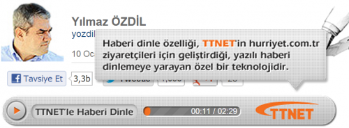 TTNet Sesli Haber Özelliği